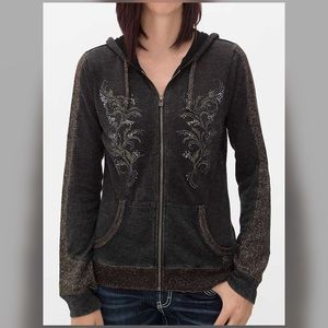 MISS ME Small Gold Knit Embellished Zip Up Hoodie